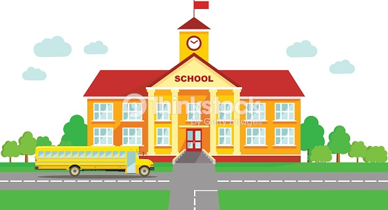 Classical school building and school bus isolated on white background